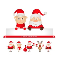 christmas set santa claus Christmas reindeer sheep vector image