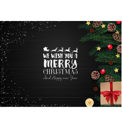 christmas wooden background with christmas element vector image