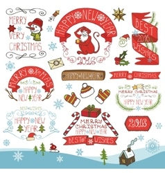 ChristmasNew Year 2016 decorationlabels set vector image