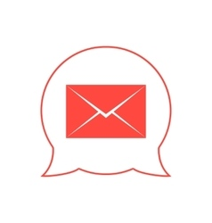 closed red envelope in double speech bubble vector image