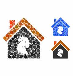 Cock house composition icon circle dots vector