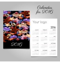 Colorful calendar 2016 with image of marine life vector image