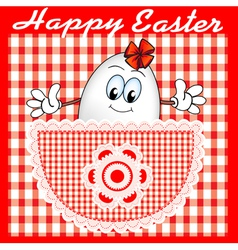 Comic postcard at Easter with a cheerful egg vector