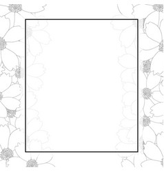 Cosmos flower outline banner card border vector