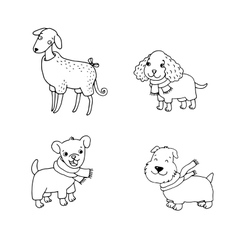 Cute cartoon dogs in winter clothes vector