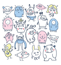 cute monsters colorful doodles vector image