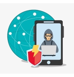 Cyber security system and media design vector