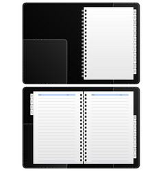 diary notebook ring binder a blank diary notebook vector image