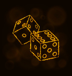 Dice icon silhouette of lights casino symbol vector