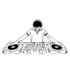 Dj playing the console drawing vector