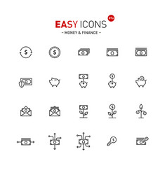 easy icons 07a money vector image