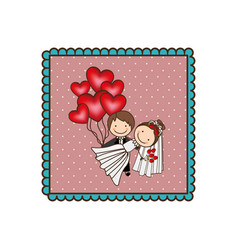 Emblem married couple with red heart bombs vector