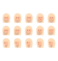 Emotions blonde woman set vector