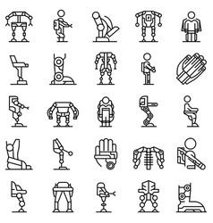 Exoskeleton icons set outline artificial vector