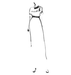 Fashion models silhouettes sketch hand drawn vector