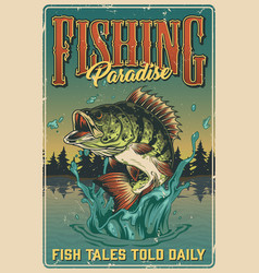 Fishing vintage colorful poster vector