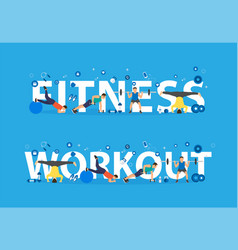 fitness workout concept of training people doing vector image