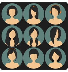 Flat womens glamor hairstyles blue icon set vector image