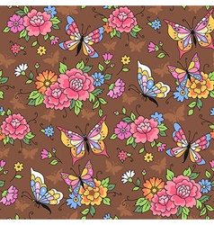 Floral pattern butterflies vector