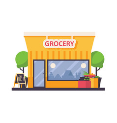 grocery shop store front isolated on white vector image