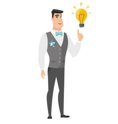 Groom pointing at business idea light bulb vector