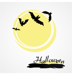 Halloween bat and moon vector
