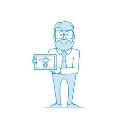 Happy man holding certificate certification vector