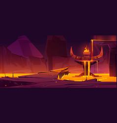 Hell underground world infernal hot cave volcano vector