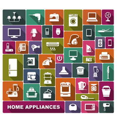 home appliances flat icons vector image