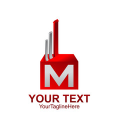 initial letter m logo template colored red silver vector image