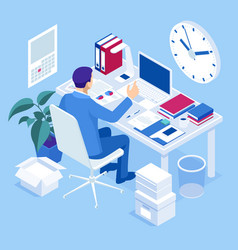 isometric overtime working concept planning time vector image