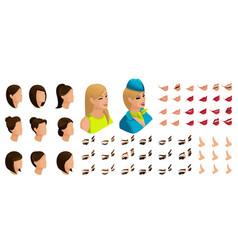 isometry stewardess girl set emotions creation vector image