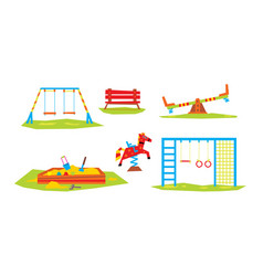 Kids playground elements set sport and recreation vector