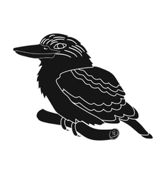 Kookaburra sitting on branch icon in black style vector