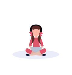 little girl headphones sitting pose isolated using vector image