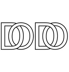 Logo od do icon sign two interlaced letters o d vector