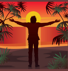 Man stands at sunset with open arms outstretched vector