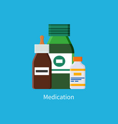 Medication promo banner with full jars of liquids vector