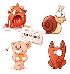 monster snail bear cat - cartoon characters vector image