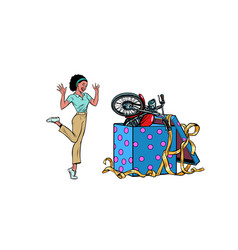 motorcycle holiday gift box african woman funny vector image