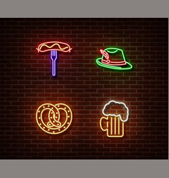neon hat sausagebake beer signs isolated vector image