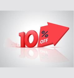 number percent off with big arrow vector image