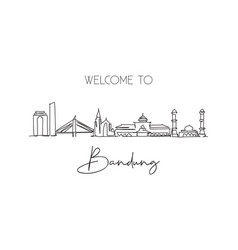 one continuous line drawing bandung city vector image
