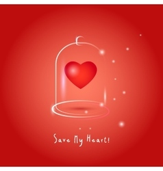 One red heart in glass bubble vector