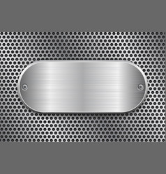 Oval brushed metal plate on perforated texture vector