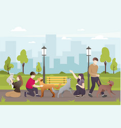 people with their pets in park vector image