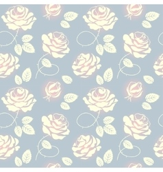 Pink roses on blue background seamless pattern vector image