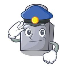 Police character padlock on the wooden door vector