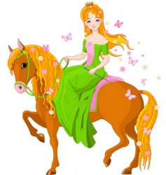 princess riding horse vector image