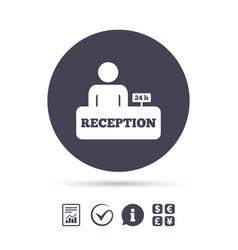 Reception sign icon hotel registration table vector